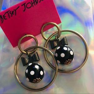 Gold hoop polka dot bow earrings Betsey Johnson